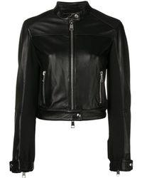 Pinko Cropped Leather Jacket - Black