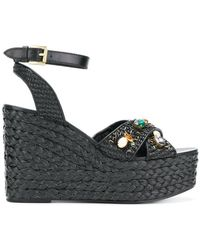 Ash - Embellished Woven Wedges - Lyst