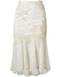 Martha Medeiros - Embroidered Lace Mix Midi Skirt - Lyst
