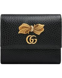 Gucci - Leather Wallet With Bow - Lyst