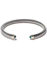 David Yurman - Cable Classics Sterling Silver, Blue Topaz And 14kt Yellow Gold Accented Cuff Bracelet - Lyst