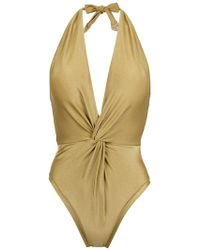 Martha Medeiros - Halterneck Twisted Detail Swimsuit - Lyst