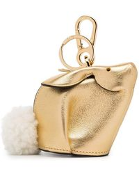 Loewe - Gold Metallic Bunny Leather Shearling Tail Bag Charm - Lyst