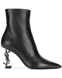 Saint Laurent - Opyum Ankle Boot In Leather With Black Heel - Lyst