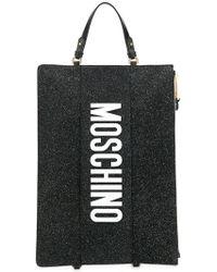 Moschino - Glitter Logo Clutch - Lyst