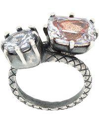 Bottega Veneta - Brown Cubic Zirconia Oxidized Silver Ring - Lyst