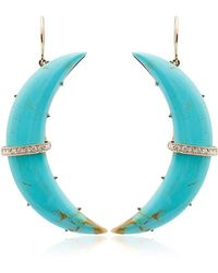 Andrea Fohrman - Turquoise Crescent Diamond Earrings - Lyst