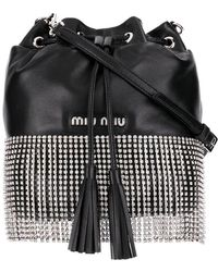 Miu Miu - Black Crystal Embellished Leather Bucket Bag - Lyst