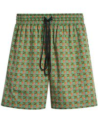 Burberry - Equestrian Check Print Cotton Drawcord Shorts - Lyst