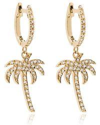 Ileana Makri - 18k Yellow Gold Palm Tree Hoops With White Diamonds - Lyst
