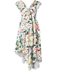 Nicole Miller - Asymmetric Ruffle Dress - Lyst