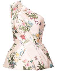 Monique Lhuillier - Blusa floral con un solo hombro - Lyst