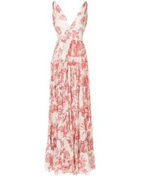837bc322aad Lyst - Oscar de la Renta Floral Toile Pintuck Tiered Dress in White
