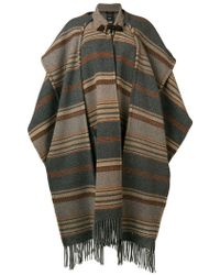 Etro - Striped Oversized Cape Coat - Lyst