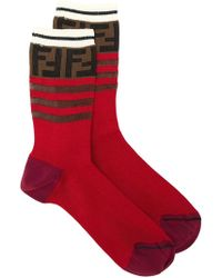 Fendi - Double F Logo Socks - Lyst