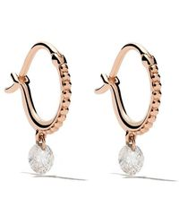 Raphaele Canot - 18kt Rose Gold Set Free Diamond Beaded Mini Hoops - Lyst