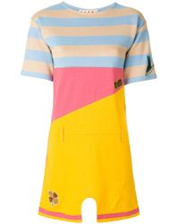 Marni - Striped Colourblock Mini T-shirt Dress - Lyst