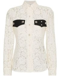 CALVIN KLEIN 205W39NYC | Lace Long Sleeve Shirt | Lyst