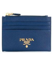 8fd2b6d11004 Lyst - Prada Logo Plaque Wallet in Blue