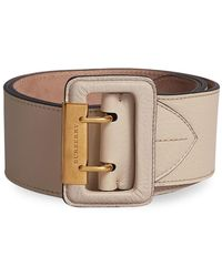 Double Pin Buckle Leather Belt - Black Burberry