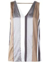 Brunello Cucinelli - Striped Sleeveless Top - Lyst