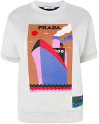 Prada - Boat Print Short Sleeved Sweatshirt - Lyst