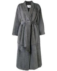 Manzoni 24 - Tie Waist Fur Coat - Lyst
