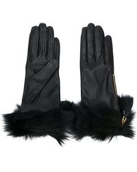 Prada - Fur Trimmed Gloves - Lyst