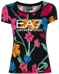 EA7 - Floral Print T-shirt - Lyst