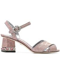 03561ab4ff28 Dolce   Gabbana - Cross Front Jewelled Heel Sandal - Lyst