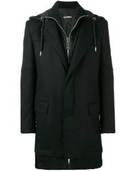 Les Hommes - Hooded Layered Coat - Lyst