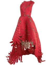 Oscar de la Renta - One-shoulder Embroidered Silk-faille And Tulle Gown - Lyst