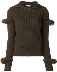 JW Anderson - Rib-knit Hoodie With Puff Sleeves - Lyst