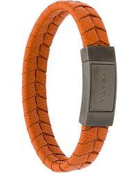 Prada - Braided Logo Bracelet - Lyst