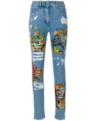 Jeremy Scott - Los Exitos Distressed Print Jeans - Lyst