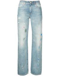 ALEXACHUNG - Paint-splatter Straigh-leg Jeans - Lyst
