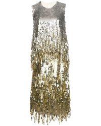 Oscar de la Renta - Sleeveless Sequin Fringe Dress - Lyst