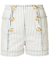 Balmain - Military Striped Denim Shorts - Lyst