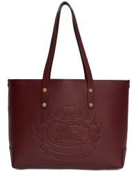 0b4357c28c98 Burberry - Small Embossed Crest Leather Tote - Lyst