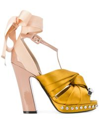 N°21 - Satin Twisted Knot Sandals - Lyst