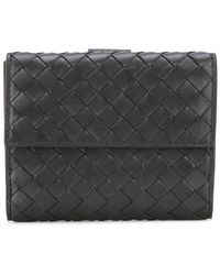 Bottega Veneta - Nero Intrecciato Nappa Mini Wallet - Lyst