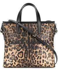 Dolce & Gabbana Leopard Medium Market Shopping Tote