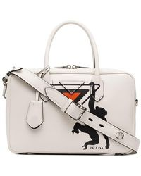 8b39570d408 ... black 11c08 c8820  discount code for prada white monkey print leather  bowling bag lyst a9024 3fd8c