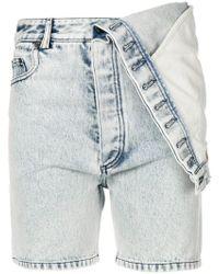 Y. Project - Asymmetric Hem Denim Shorts - Lyst