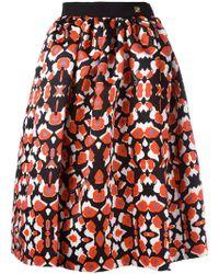 Class Roberto Cavalli - Patterned Pleated Skirt - Lyst