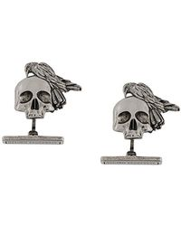 Alexander McQueen - Skull And Crow Cufflinks - Lyst