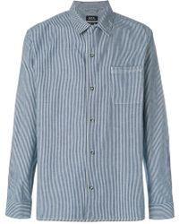 A.P.C. - Luca Striped Denim Shirt - Lyst