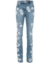 Blumarine | Italian Lace Appliqué Jeans | Lyst