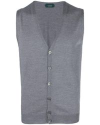 0ed06c4a146af Lyst - Paolo Pecora Sleeveless Cardigan in Purple for Men