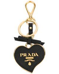 Prada - All Designer Products - Saffiano Heart Keychain - Lyst